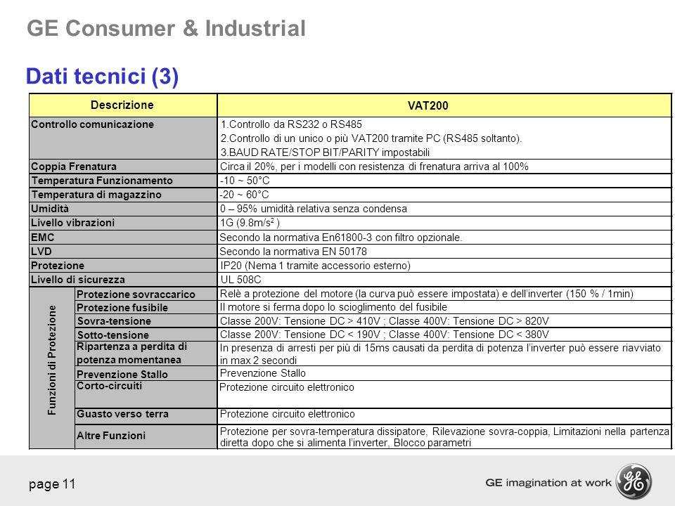 GE Consumer & Industrial page 11 VAT200 1.Controllo da RS232 o RS485 2.Controllo di un unico o più VAT200 tramite PC (RS485 soltanto). 3.BAUD RATE/STO