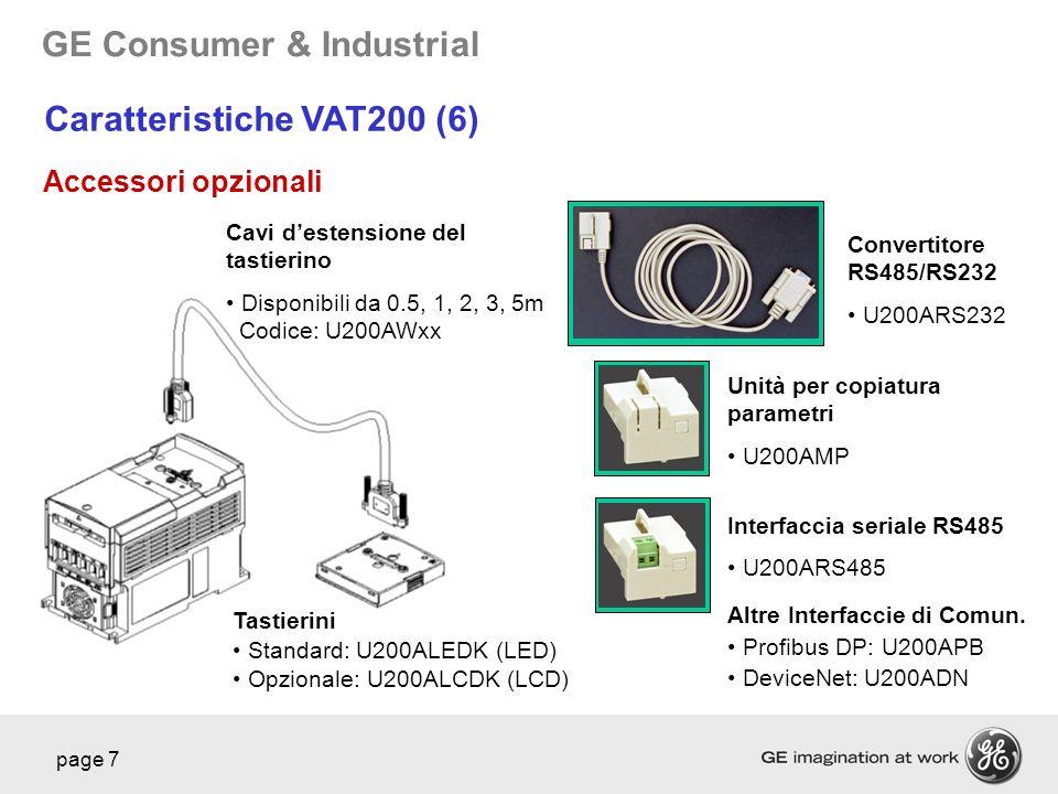 GE Consumer & Industrial page 7 Caratteristiche VAT200 (6) Accessori opzionali Cavi destensione del tastierino Disponibili da 0.5, 1, 2, 3, 5m Codice: