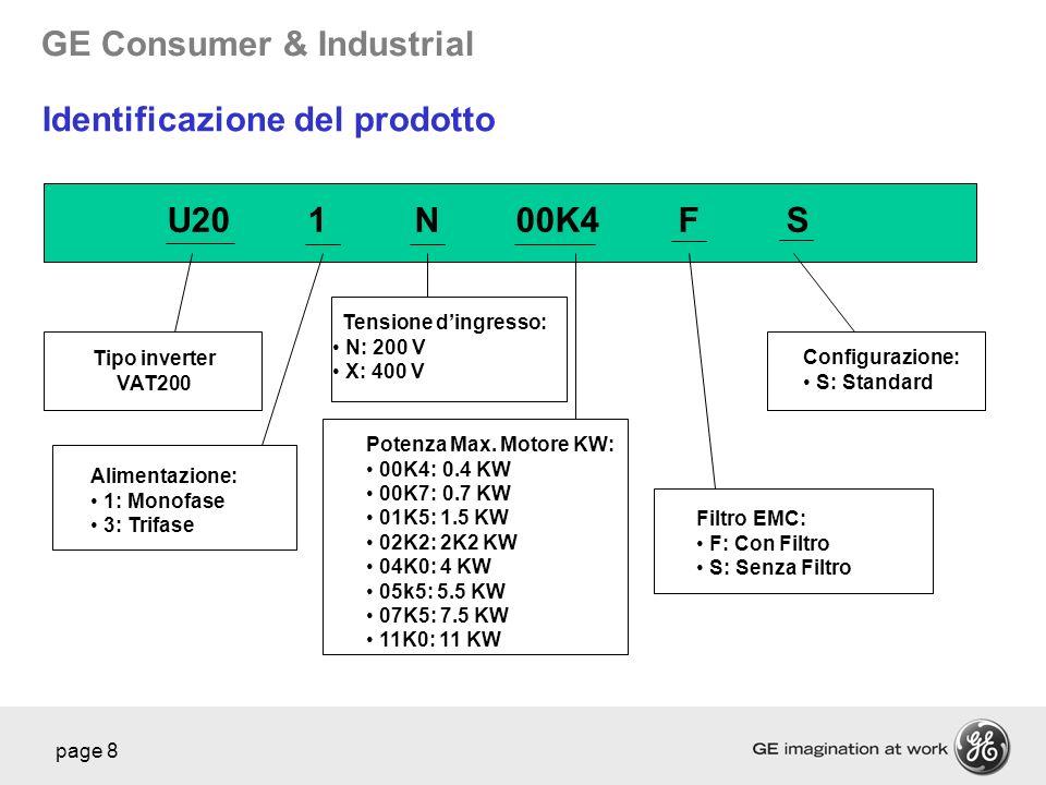 GE Consumer & Industrial page 8 U201N00K4FS Tipo inverter VAT200 Alimentazione: 1: Monofase 3: Trifase Tensione dingresso: N: 200 V X: 400 V Potenza M