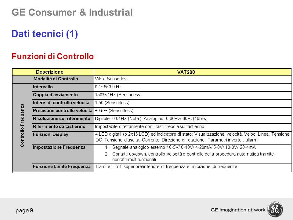 GE Consumer & Industrial page 9 VAT200 V/F o Sensorless Intervallo0.1~650.0 Hz Coppia davviamento150%/1Hz (Sensorless) Interv. di controllo velocità 1