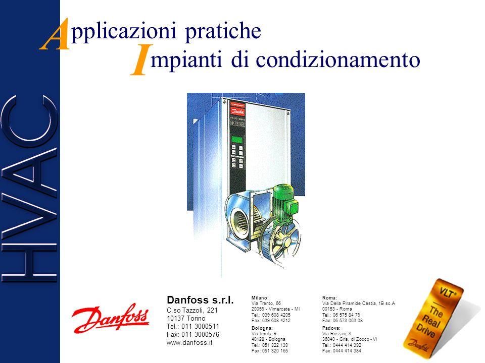 ontrollo Filtri C antaggi V Sensibile risparmio energetico Eliminazione delle valvole e delle serrande di regolazione aria Manutenzione ridotta Riduzi