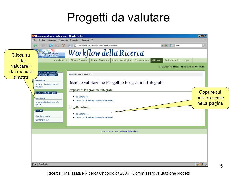 Ricerca Finalizzata e Ricerca Oncologica 2006 - Commissari: valutazione progetti 5 Progetti da valutare Clicca su da valutare dal menu a sinistra Oppure sul link presente nella pagina