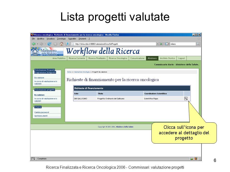 Ricerca Finalizzata e Ricerca Oncologica 2006 - Commissari: valutazione progetti 6 Lista progetti valutate Clicca sullicona per accedere al dettaglio del progetto