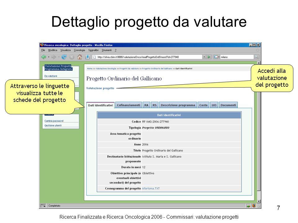 Ricerca Finalizzata e Ricerca Oncologica 2006 - Commissari: valutazione progetti 8 Valutazione progetto Inserisci la valutazione e clicca su assegna