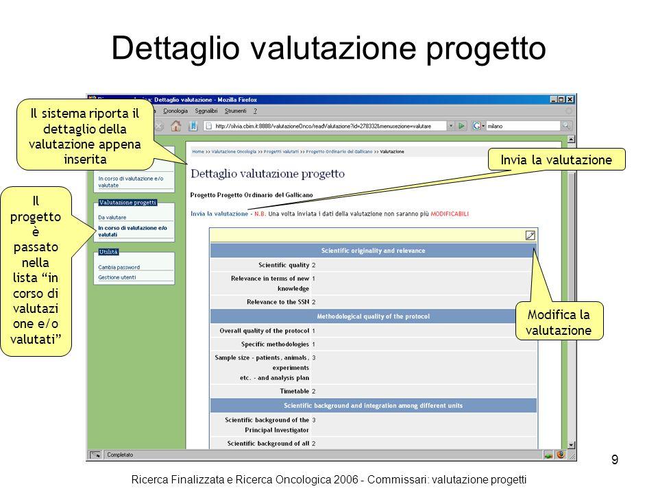 Ricerca Finalizzata e Ricerca Oncologica 2006 - Commissari: valutazione progetti 10 Conferma invio valutazione progetto Il sistema chiede conferma dellinvio.