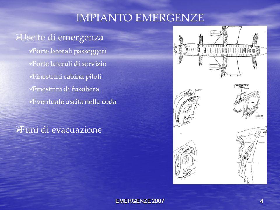 EMERGENZE 2007 4 IMPIANTO EMERGENZE Uscite di emergenza Porte laterali passeggeri Porte laterali di servizio Finestrini cabina piloti Finestrini di fu