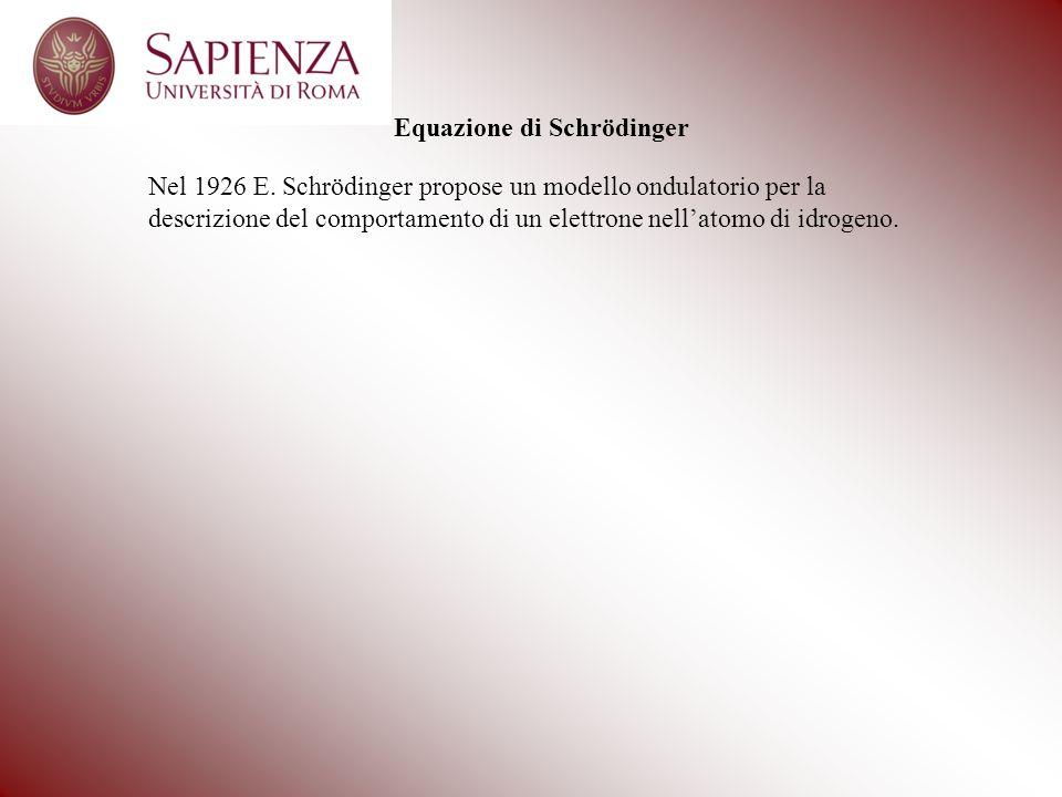 Equazione di Schrödinger Nel 1926 E. Schrödinger propose un modello ondulatorio per la descrizione del comportamento di un elettrone nellatomo di idro