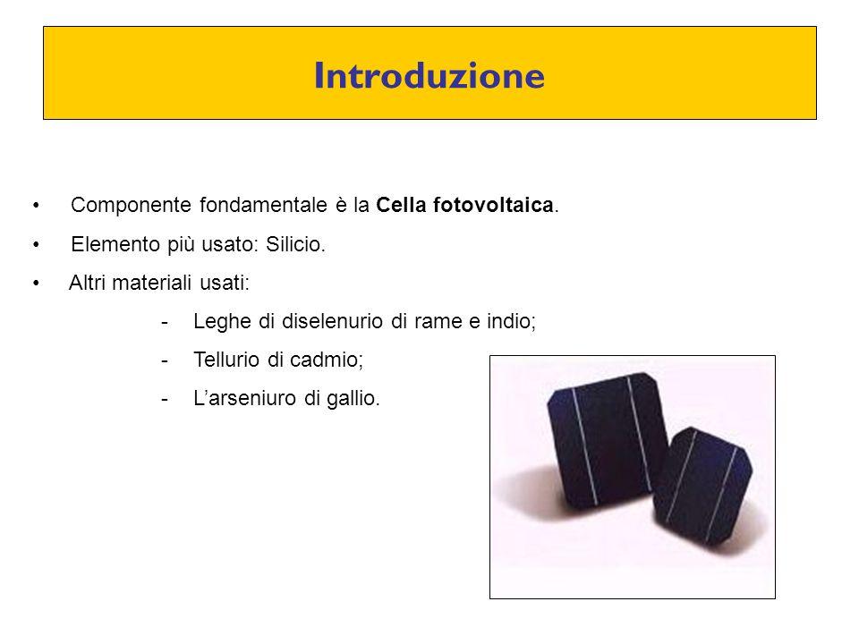 Introduzione Componente fondamentale è la Cella fotovoltaica. Elemento più usato: Silicio. Altri materiali usati: -Leghe di diselenurio di rame e indi
