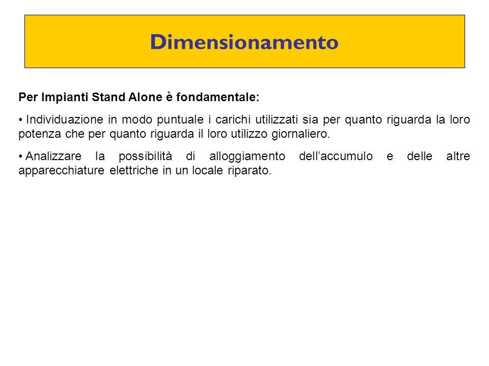 Dimensionamento Per Impianti Stand Alone è fondamentale: Individuazione in modo puntuale i carichi utilizzati sia per quanto riguarda la loro potenza