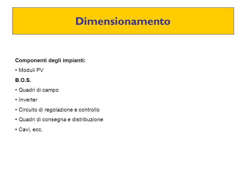 Dimensionamento Componenti degli impianti: Moduli PV B.O.S. Quadri di campo Inverter Circuito di regolazione e controllo Quadri di consegna e distribu