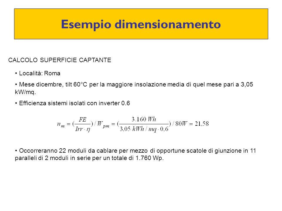 Esempio dimensionamento CALCOLO SUPERFICIE CAPTANTE Località: Roma Mese dicembre, tilt 60°C per la maggiore insolazione media di quel mese pari a 3,05