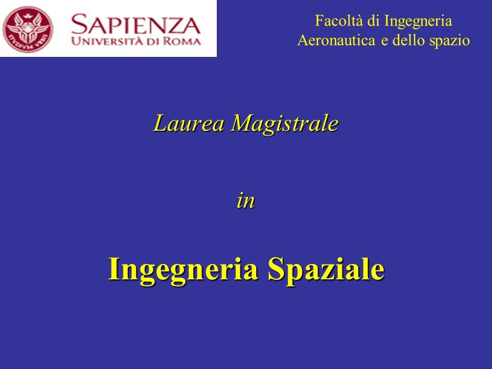 Laurea Magistrale in Ingegneria Spaziale Facoltà di Ingegneria Aeronautica e dello spazio
