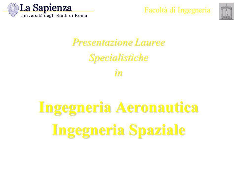Facoltà di Ingegneria Presentazione Lauree Specialistiche in Ingegneria Aeronautica Ingegneria Spaziale