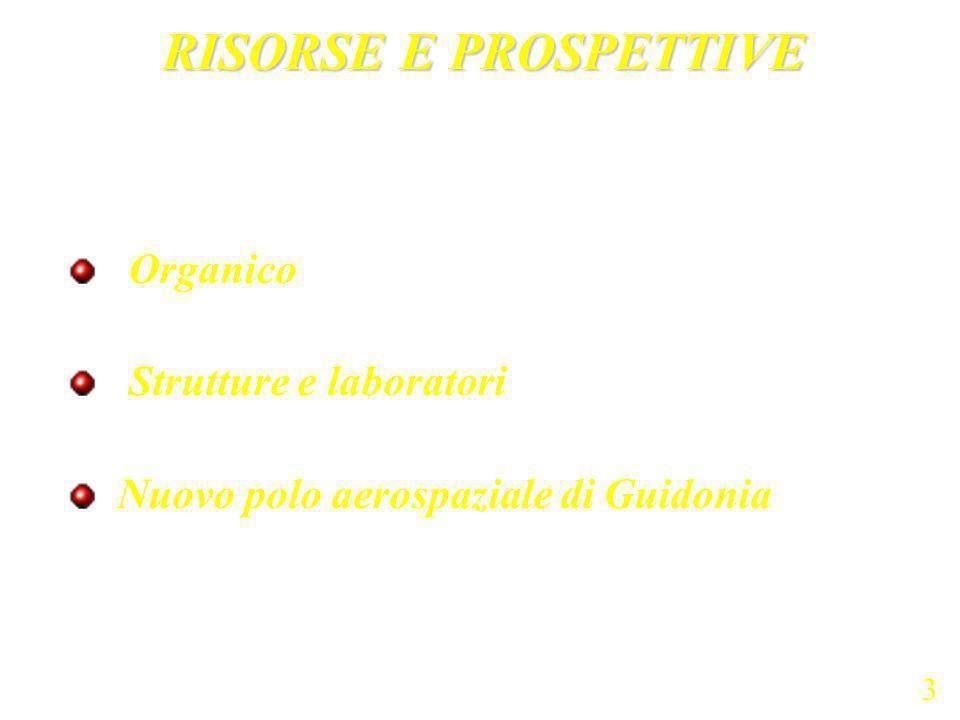 Organico Strutture e laboratori Nuovo polo aerospaziale di Guidonia RISORSE E PROSPETTIVE 3