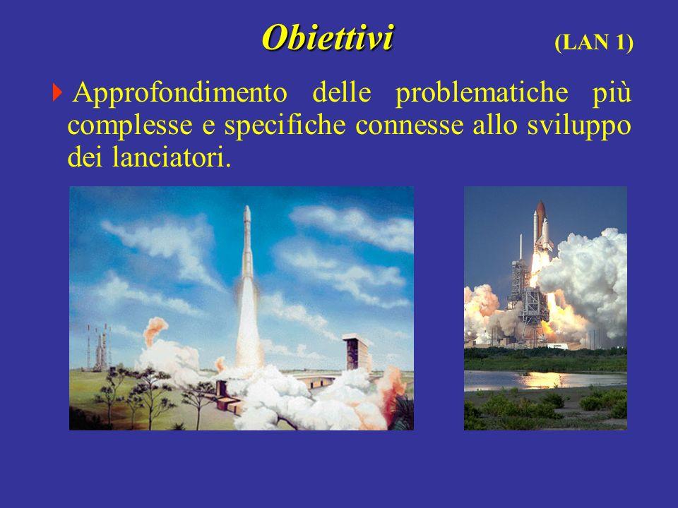 Obiettivi Obiettivi (LAN 1) Approfondimento delle problematiche più complesse e specifiche connesse allo sviluppo dei lanciatori.