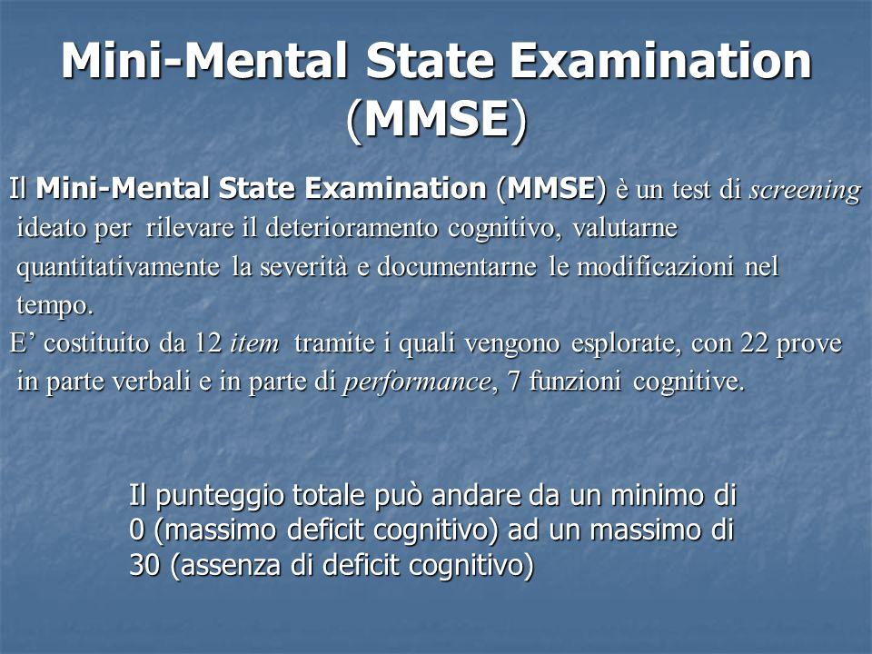 Mini-Mental State Examination (MMSE) Il Mini-Mental State Examination (MMSE) è un test di screening ideato per rilevare il deterioramento cognitivo, valutarne ideato per rilevare il deterioramento cognitivo, valutarne quantitativamente la severità e documentarne le modificazioni nel quantitativamente la severità e documentarne le modificazioni nel tempo.