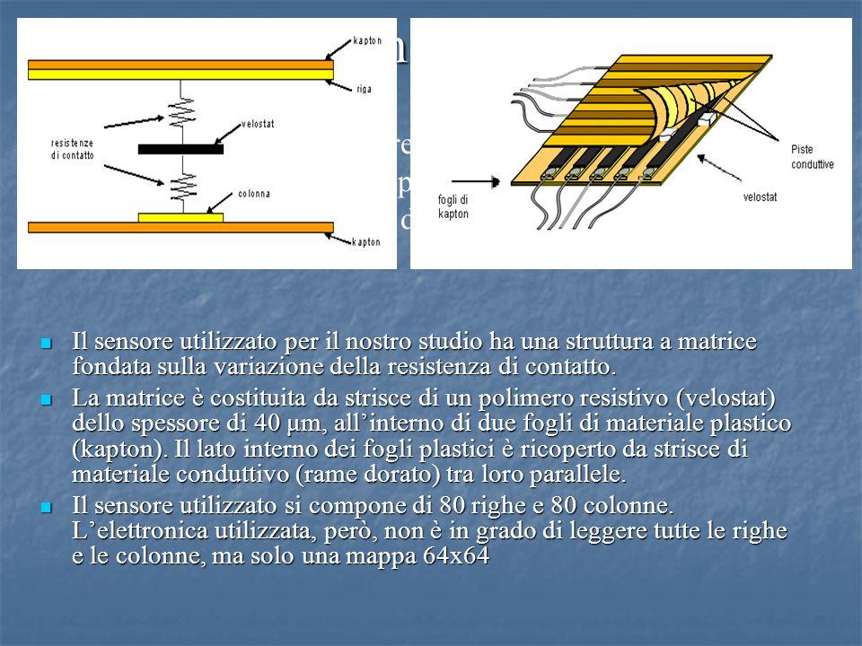 Sensore Il sensore utilizzato per il nostro studio ha una struttura a matrice fondata sulla variazione della resistenza di contatto. Il sensore utiliz