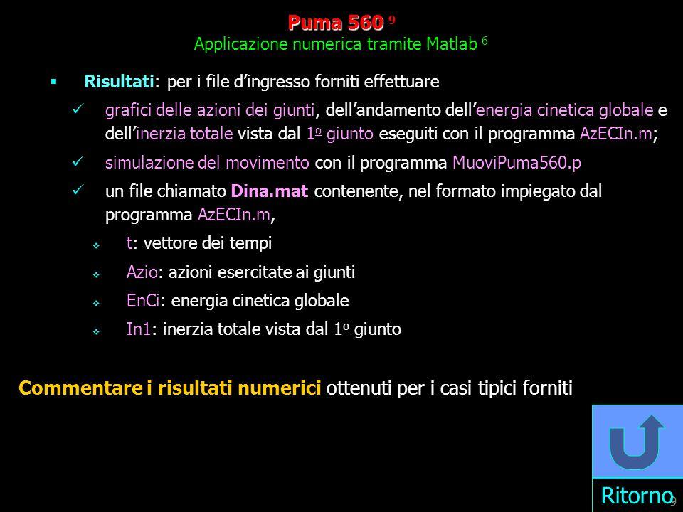 9 Puma 560 560 9 Applicazione numerica tramite Matlab 6 Risultati: per i file dingresso forniti effettuare grafici delle azioni dei giunti, dellandamento dellenergia cinetica globale e dellinerzia totale vista dal 1 o giunto eseguiti con il programma AzECIn.m; simulazione del movimento con il programma MuoviPuma560.p un file chiamato Dina.mat contenente, nel formato impiegato dal programma AzECIn.m, t: vettore dei tempi Azio: azioni esercitate ai giunti EnCi: energia cinetica globale In1: inerzia totale vista dal 1 o giunto Commentare i risultati numerici ottenuti per i casi tipici forniti Ritorno