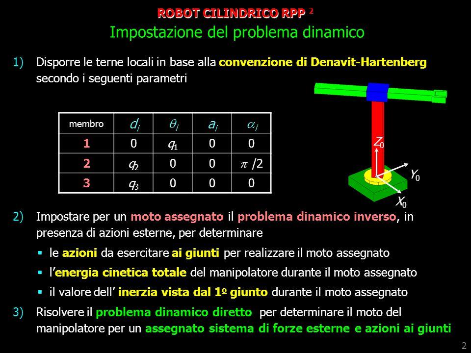 2 1)Disporre le terne locali in base alla convenzione di Denavit-Hartenberg secondo i seguenti parametri 2)Impostare per un moto assegnato il problema