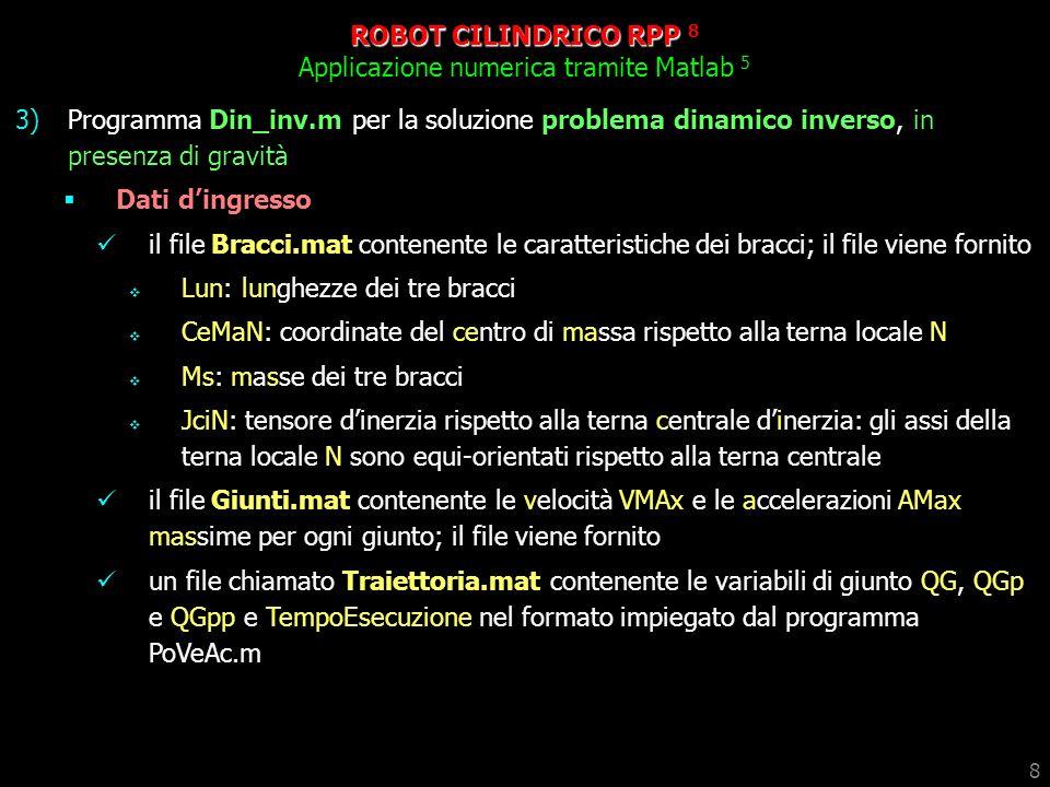 8 ROBOT CILINDRICO RPP 8 Applicazione numerica tramite Matlab 5 3)Programma Din_inv.m per la soluzione problema dinamico inverso, in presenza di gravi