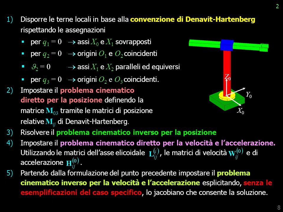 8 1)Disporre le terne locali in base alla convenzione di Denavit-Hartenberg rispettando le assegnazioni per q 1 = 0 assi X 0 e X 1 sovrapposti per q 2 = 0 origini O 1 e O 2 coincidenti 2 = 0 assi X 1 e X 2 paralleli ed equiversi per q 3 = 0 origini O 2 e O 3 coincidenti.