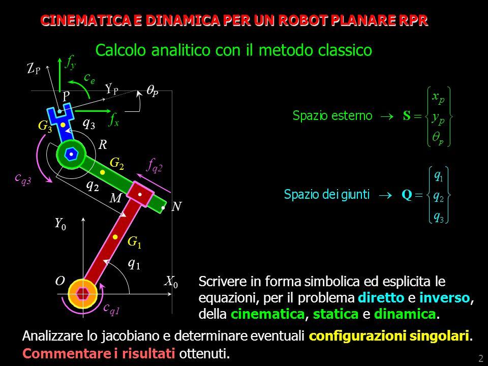 2 CINEMATICA E DINAMICA PER UN ROBOT PLANARE RPR Calcolo analitico con il metodo classico Analizzare lo jacobiano e determinare eventuali configurazio