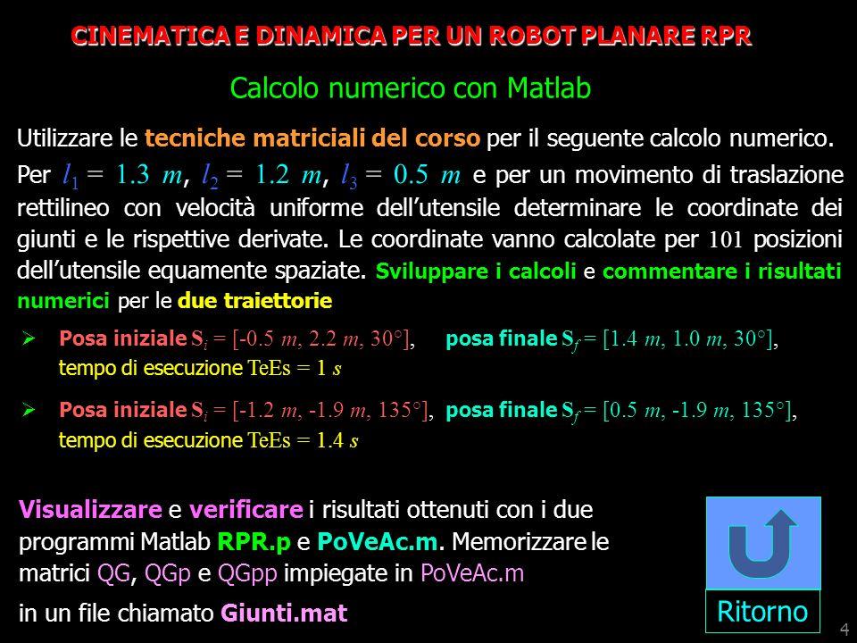 4 CINEMATICA E DINAMICA PER UN ROBOT PLANARE RPR Calcolo numerico con Matlab Ritorno Utilizzare le tecniche matriciali del corso per il seguente calco