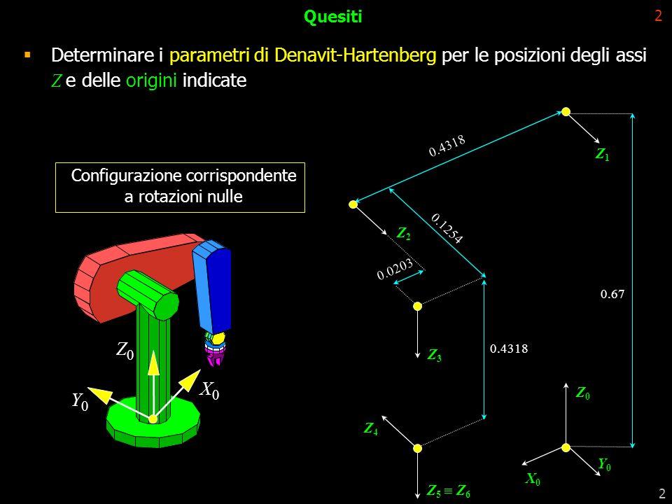 2 2 Quesiti Configurazione corrispondente a rotazioni nulle 0.67 Z1Z1 Z2Z2 0.4318 0.0203 0.1254 X0X0 Z0Z0 Y0Y0 Z3Z3 0.4318 Z4Z4 Z 5 Z 6 Y0Y0 Z0Z0 X0X0