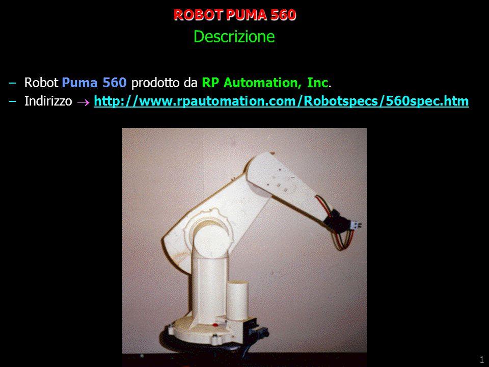 1 ROBOT PUMA 560 Descrizione –Robot Puma 560 prodotto da RP Automation, Inc. –Indirizzo http://www.rpautomation.com/Robotspecs/560spec.htmhttp://www.r