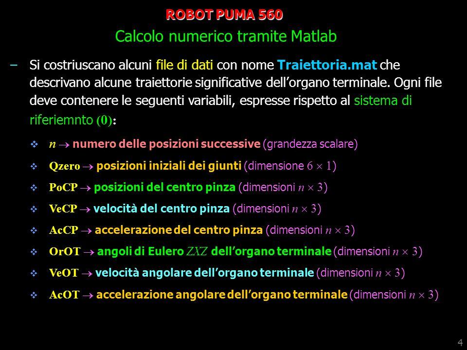 5 ROBOT PUMA 560 Calcolo numerico tramite Matlab –Calcolare con il metodo matriciale le traiettorie dei giunti relative al file Traiettoria.mat.