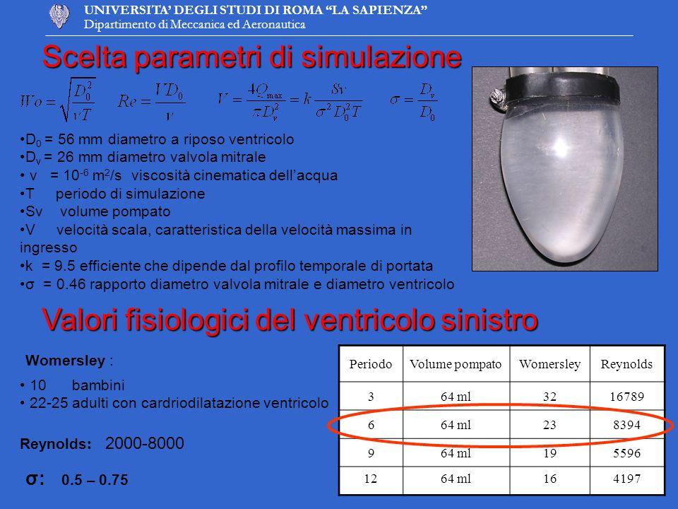 UNIVERSITA DEGLI STUDI DI ROMA LA SAPIENZA Dipartimento di Meccanica ed Aeronautica Scelta parametri di simulazione D 0 = 56 mm diametro a riposo vent