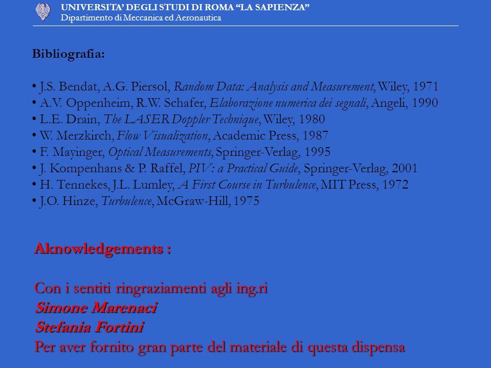 UNIVERSITA DEGLI STUDI DI ROMA LA SAPIENZA Dipartimento di Meccanica ed Aeronautica Aknowledgements : Con i sentiti ringraziamenti agli ing.ri Simone