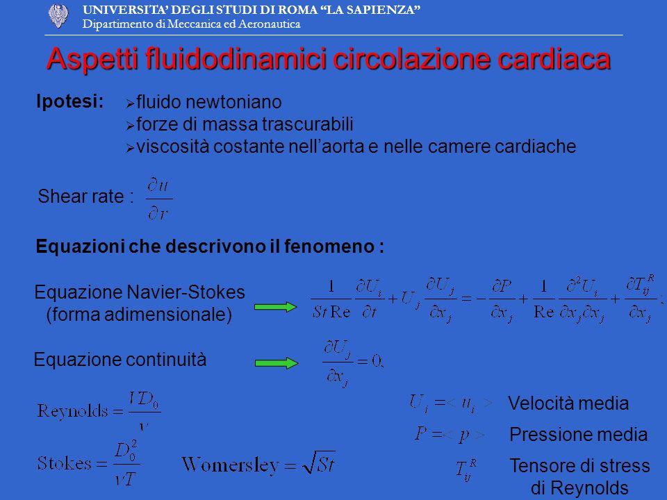 UNIVERSITA DEGLI STUDI DI ROMA LA SAPIENZA Dipartimento di Meccanica ed Aeronautica Aspetti fluidodinamici circolazione cardiaca Equazioni che descriv