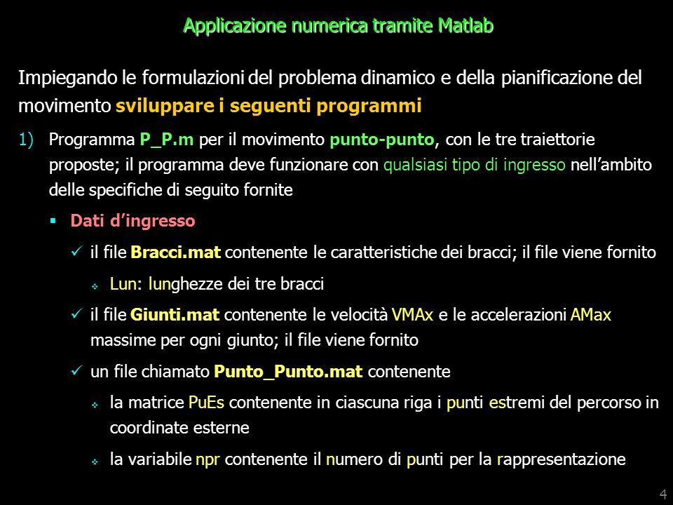 4 Applicazione numerica tramite Matlab Impiegando le formulazioni del problema dinamico e della pianificazione del movimento sviluppare i seguenti pro