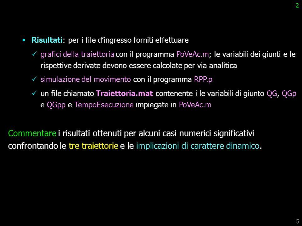 5 2 Risultati: per i file dingresso forniti effettuare grafici della traiettoria con il programma PoVeAc.m; le variabili dei giunti e le rispettive de