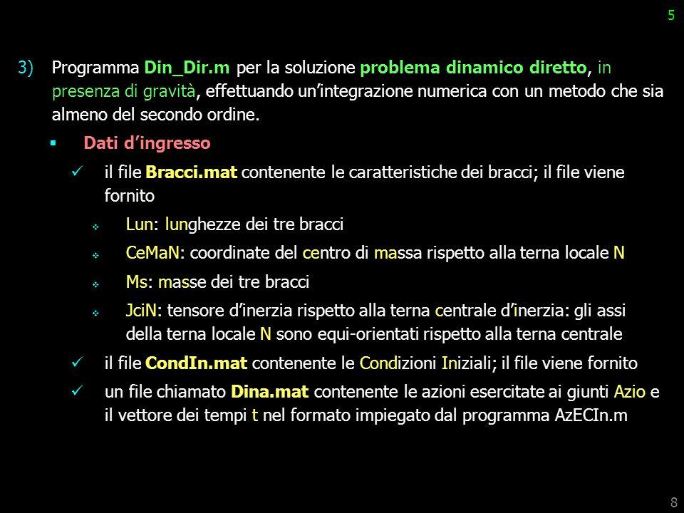 8 5 3)Programma Din_Dir.m per la soluzione problema dinamico diretto, in presenza di gravità, effettuando unintegrazione numerica con un metodo che si