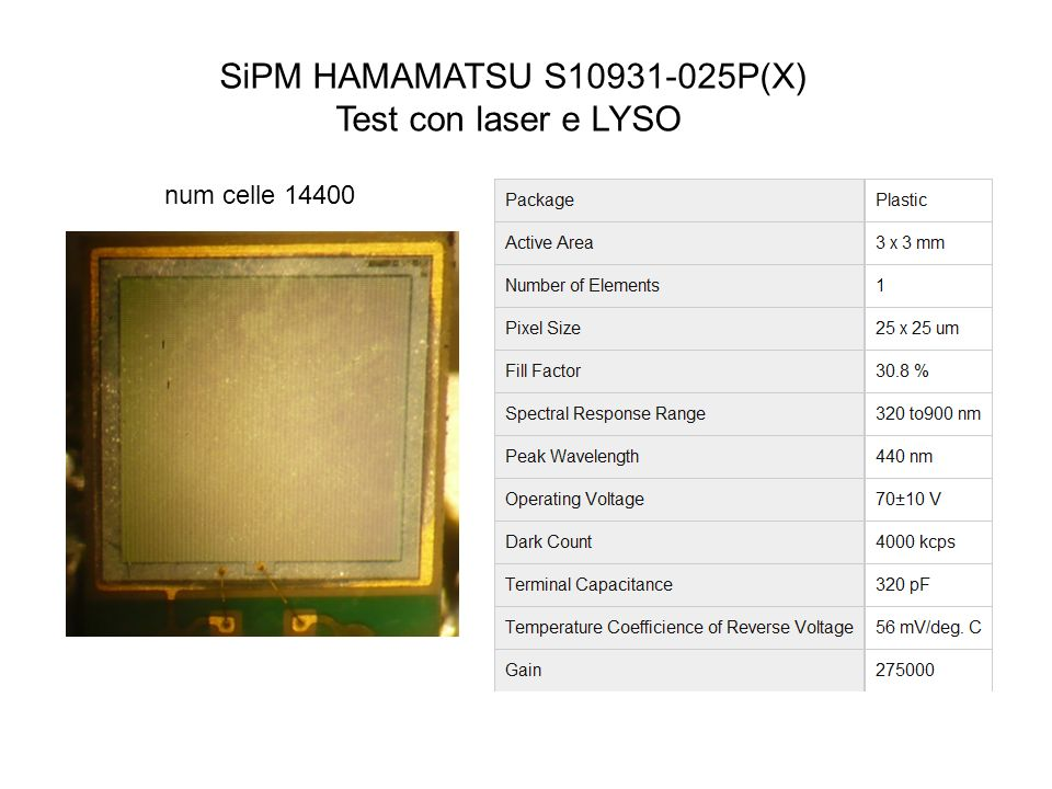 SiPM HAMAMATSU S10931-025P(X) Test con laser e LYSO num celle 14400