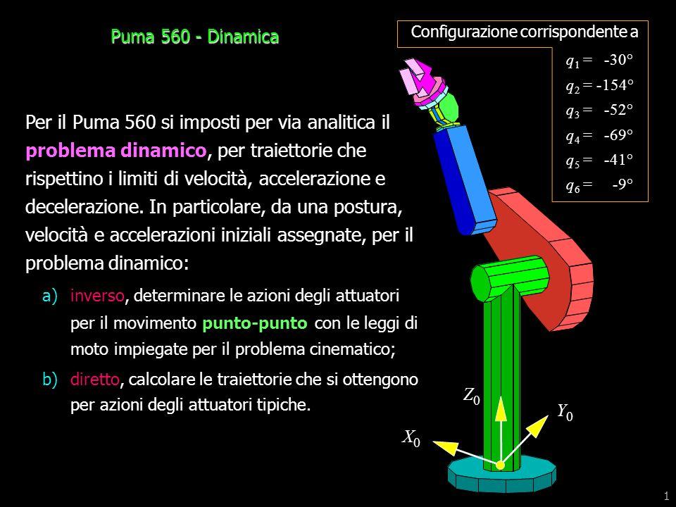 1 Per il Puma 560 si imposti per via analitica il problema dinamico, per traiettorie che rispettino i limiti di velocità, accelerazione e decelerazion