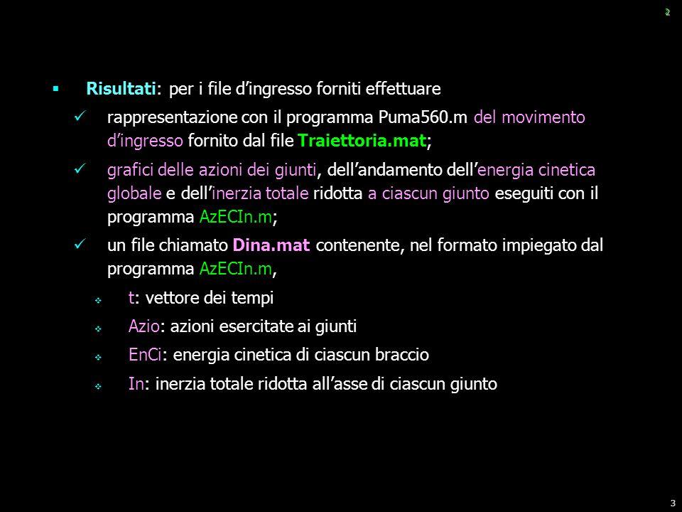3 2 Risultati: per i file dingresso forniti effettuare rappresentazione con il programma Puma560.m del movimento dingresso fornito dal file Traiettori