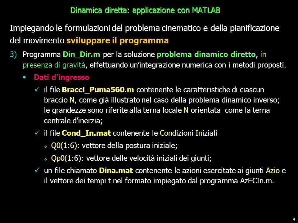 4 Impiegando le formulazioni del problema cinematico e della pianificazione del movimento sviluppare il programma 3)Programma Din_Dir.m per la soluzio