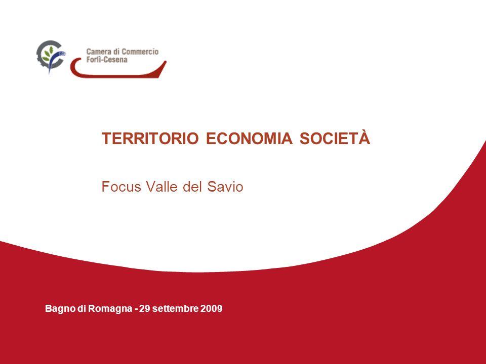Bagno di Romagna – 29 settembre 2009 IMPRESE 2.207 imprese al 31/12/2008, di cui il 34,3% a Mercato Saraceno Rispetto al 2003 si riscontra una lieve diminuzione (-0,6%) così distribuita nei vari Comuni: Mercato Saraceno: +2,9% Bagno di Romagna:+0,4% Sarsina:-4,0% Verghereto:-6,6% IMPRESE DISTINTE PER SETTORI Agricoltura30,2% Manifattura13,9% Edilizia 15,6% Commercio e turismo 23,0% Servizi17,4% IMPRESE DISTINTE PER NATURA GIURIDICA Imprese individuali69,6% (incidenza più elevata rispetto al dato provinciale) Società di persone21,8% Società di capitali 6,8% (incidenza meno elevata rispetto al dato provinciale) Altre forme giuridiche 1,8%