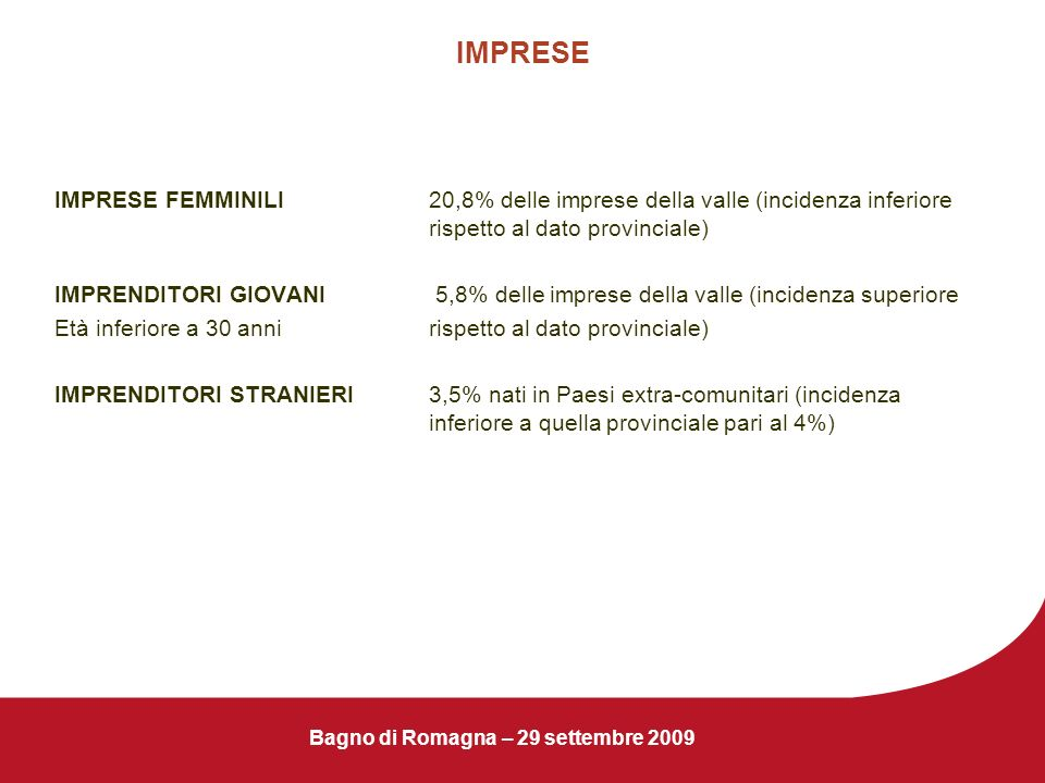 Bagno di Romagna – 29 settembre 2009 IMPRESE IMPRESE FEMMINILI20,8% delle imprese della valle (incidenza inferiore rispetto al dato provinciale) IMPRE