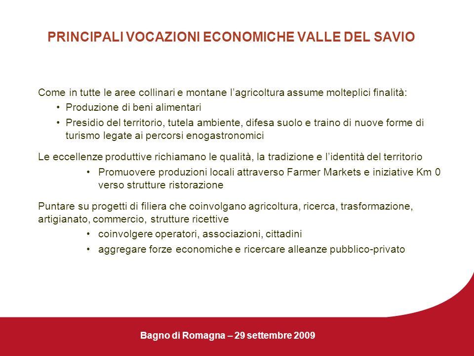Bagno di Romagna – 29 settembre 2009 PRINCIPALI VOCAZIONI ECONOMICHE VALLE DEL SAVIO Come in tutte le aree collinari e montane lagricoltura assume mol