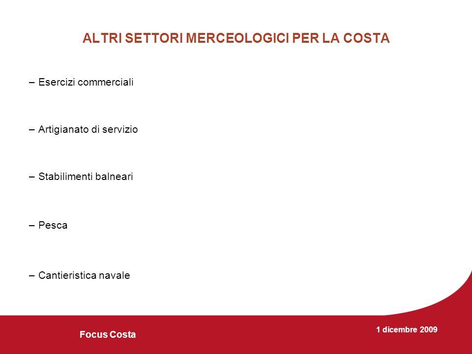 1 dicembre 2009 Focus Costa ALTRI SETTORI MERCEOLOGICI PER LA COSTA –Esercizi commerciali –Artigianato di servizio –Stabilimenti balneari –Pesca –Cantieristica navale