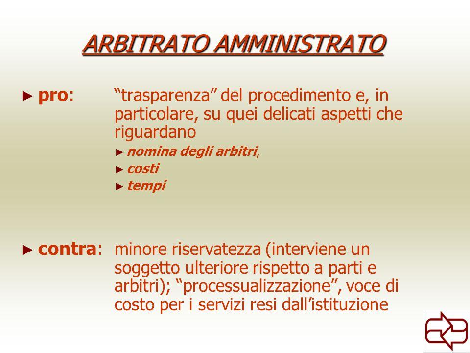 ARBITRATO AMMINISTRATO pro: trasparenza del procedimento e, in particolare, su quei delicati aspetti che riguardano nomina degli arbitri, costi tempi