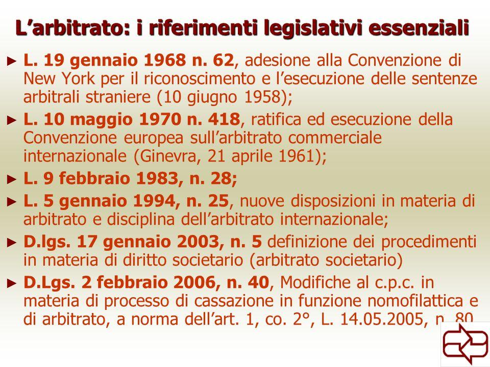 Larbitrato: i riferimenti legislativi essenziali L. 19 gennaio 1968 n. 62, adesione alla Convenzione di New York per il riconoscimento e lesecuzione d
