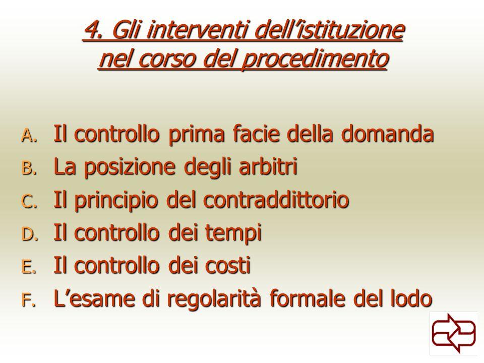 4. Gli interventi dellistituzione nel corso del procedimento A. Il controllo prima facie della domanda B. La posizione degli arbitri C. Il principio d