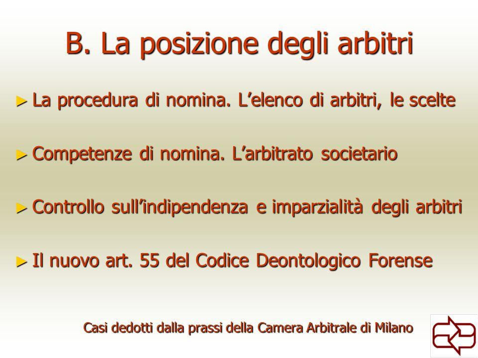 B. La posizione degli arbitri La procedura di nomina. Lelenco di arbitri, le scelte La procedura di nomina. Lelenco di arbitri, le scelte Competenze d