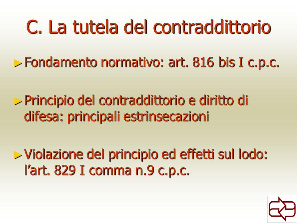 C. La tutela del contraddittorio Fondamento normativo: art. 816 bis I c.p.c. Fondamento normativo: art. 816 bis I c.p.c. Principio del contraddittorio