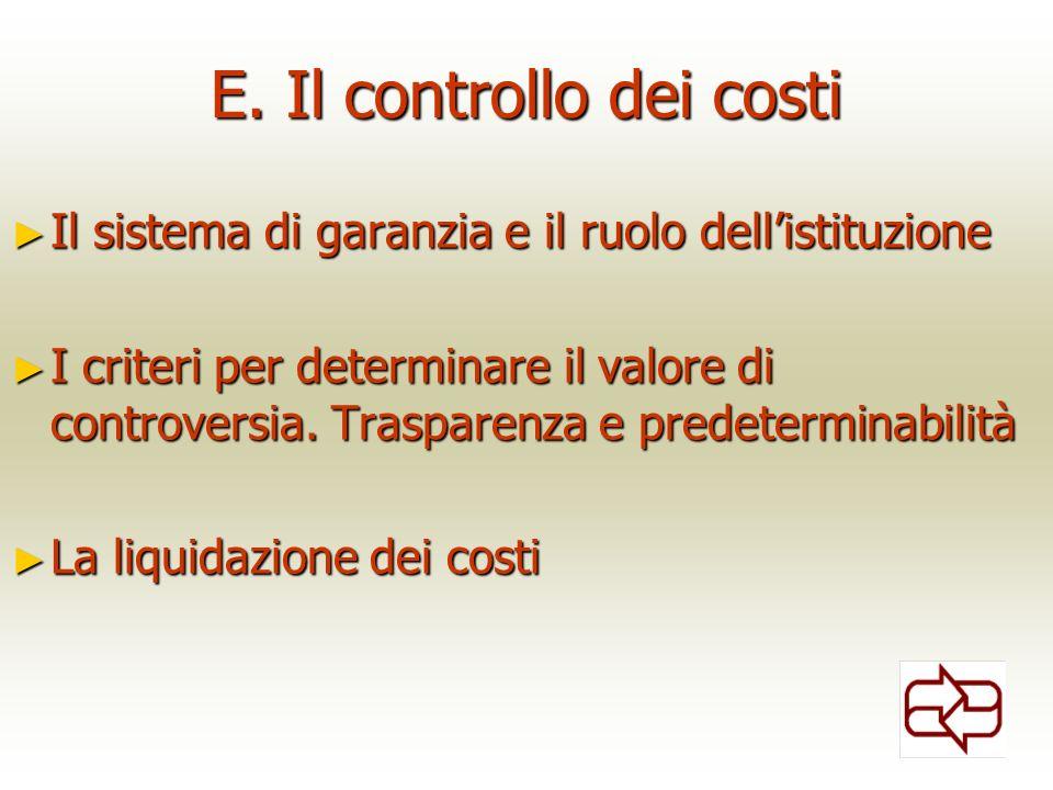 E. Il controllo dei costi Il sistema di garanzia e il ruolo dellistituzione Il sistema di garanzia e il ruolo dellistituzione I criteri per determinar